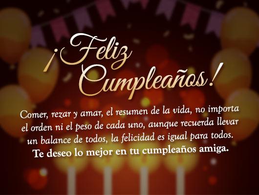 mensaje de felicitaciones y cumpleaños para amiga